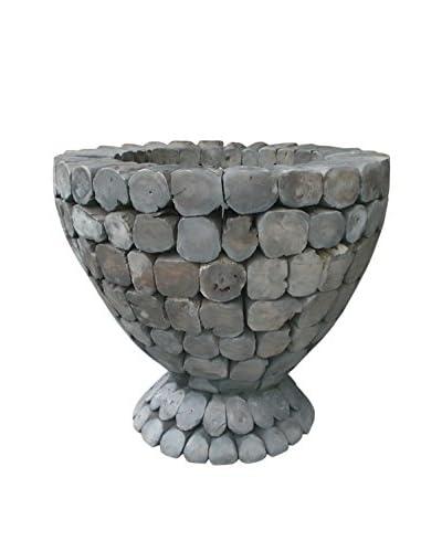 Jeffan Trophy Teak Log Dining Table Base (Glass Not Included), Natural