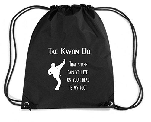 T-Shirtshock - Zaino Zainetto Budget Gymsac TAM0175 taekwondo sharp pain dark tshirt, Taglia Capacita 11 litri