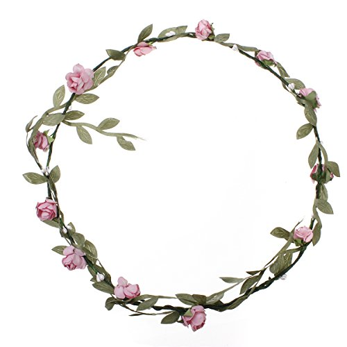 KINGSO Rose Flowers Branch Festival Wedding Garland Head Wreath Crown Floral Tool Adult Size Pink