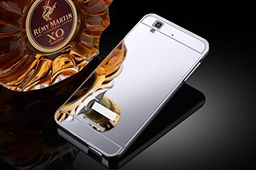 Febelo Branded Luxury Metal Bumper + Acrylic Mirror Back Cover Case For Micromax Yu Yureka / Yu Yureka Plus - Silver Plated