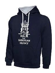 Keep Calm And Walk The Siberian Husky Dog Navy Blue & Heather Grey Contrast Hoody