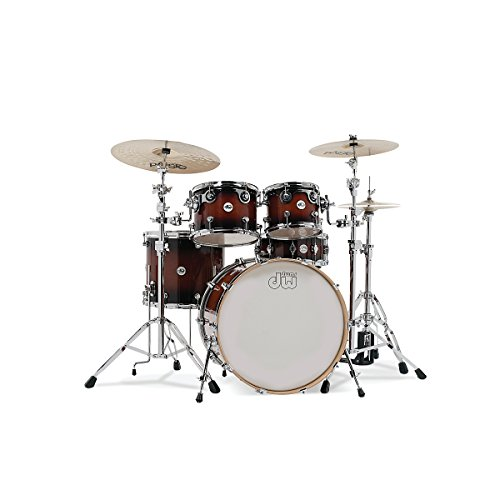 Dw Design Series 5-Piece Lacquer Shell Pack With Chrome Hardware Tobacco Burst (Tobacco Burst)