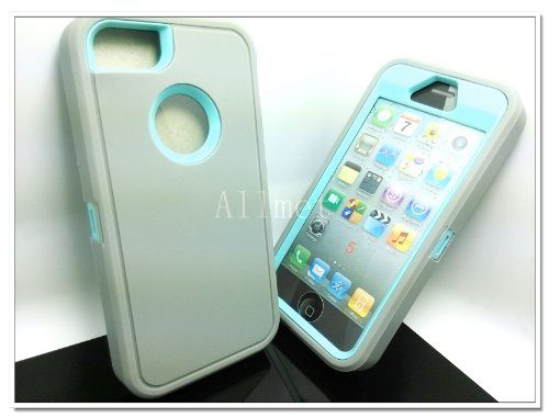 $$  Multi Color Iphone 5 5S Body Armor Silicone Hybrid Cove Hard Case, Three Layer Silicone PC Case Cover for iPhone 5 5S (Grey+Light Blue)