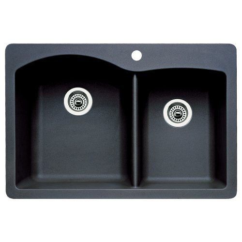 Purchase Blanco 440215 Diamond Double-Basin Drop-In or Undermount Granite Kitchen Sink, Anthracite
