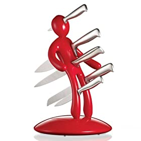 The Ex 5-Piece Stainless-Steel Knife Set with Unique Holder, Red