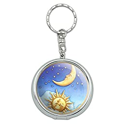 Portable Travel Size Pocket Purse Ashtray Keychain with Cigarette Holder Symbols - Celestial - Sun and Moon