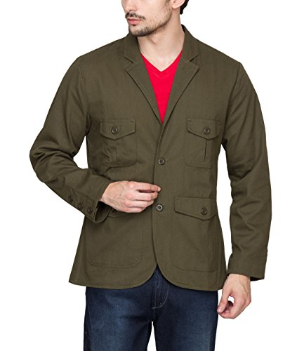 Hypernation Military Green Color Twill Blazers for Men