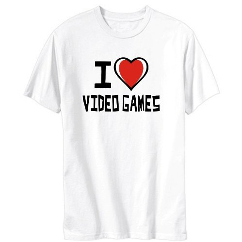I Love Video Games Hobbies Mens T-shirt (White, Sizes X-Small - XXX-Large)
