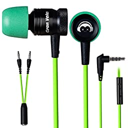 GranVela G10 Hammering Gaming Earphones In-ear Noise-isolating Bass Headphones with Microphones Earbuds, Green