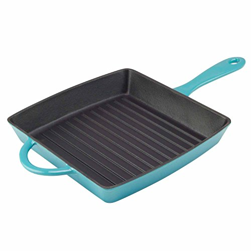 Zelancio Cookware Enameled Cast Iron Grill Pan. Square 10 Inch is Perfect for Steak, Grilled Cheese, and More. (Teal)