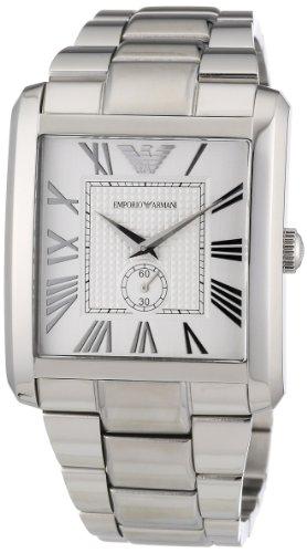 Emporio Armani AR1643 - Reloj analógico de cuarzo para hombre con correa de acero inoxidable, color plateado