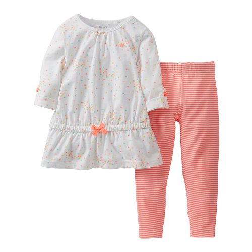 Carter'S 2-Piece Star Bright 3/4 Sleeve Top & Striped Leggings (3 Months) front-364279