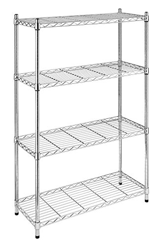 Whitmor 6060-322 Supreme 4-Tier Shelving Unit, Chrome (Metal Storage Shelving Unit compare prices)
