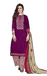 RK Fashion Womens Cotton Un-Stitched Salwar Suit Dupatta Material ( YOGESH-MCM-LIFESTYLE-SANA-150-Purple-Free Size)