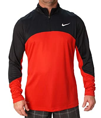 Nike Elite Mens Dri-Fit Half Zip Mock Neck Long Sleeve Basketball Shirt by Nike