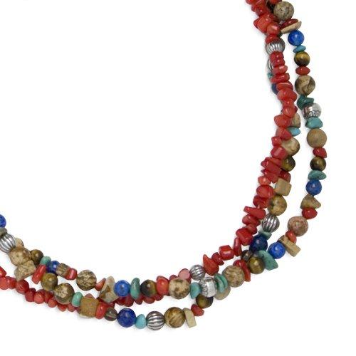 Southwest Spirit Sterling Silver Southwest Gemstones Vibrant Triple Strand Beaded Necklace