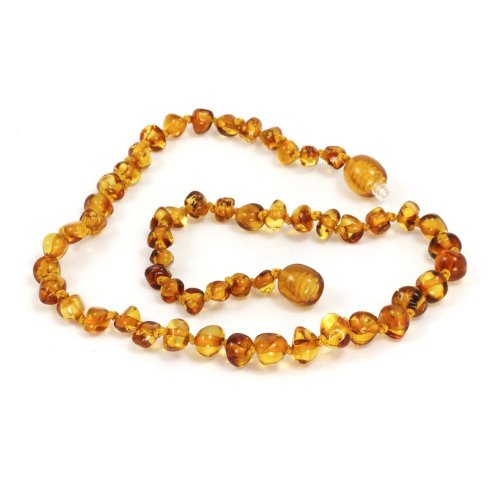 Baltic Amber Baby Teething Necklace In Honey, Small front-968150