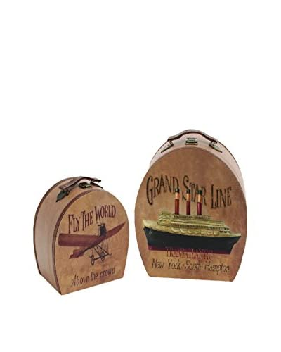 Set Of 2 Wood Leather Boxes, Multi