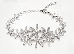Sunflower Jewelry Sweet Silvery Petals Austrian Crystal Made with Swarovski Elements Crystal Bracelet for Women