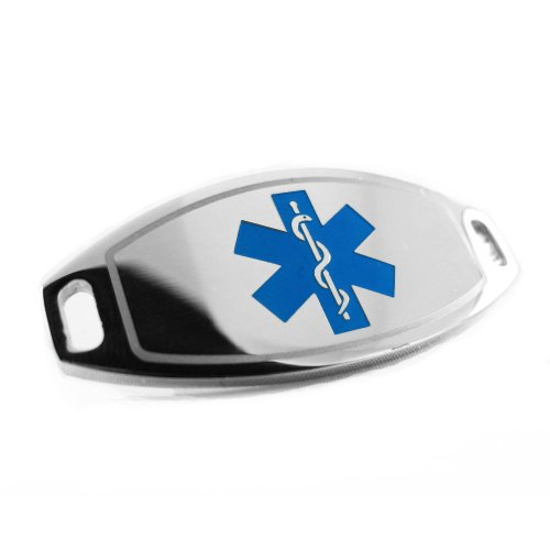 My Identity Doctor - Diabetes Type 1 Medical Alert ID Tag, Attachable To Bracelet, Blue Symbol Pre-Engraved