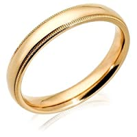 14k Yellow Gold 4mm Comfort Fit Milgrain Women's Wedding Band