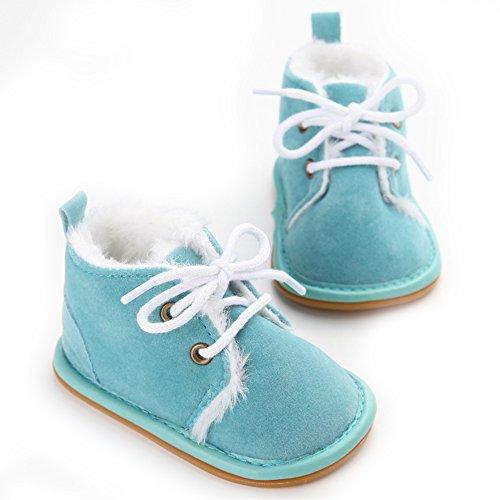 Pattini di bambino di inverno suola molle della ragazza del neonato primi camminatori (M: 6~12 mesi, Blu)