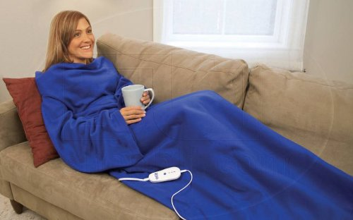 Heated Blanket with Sleeves - Blue