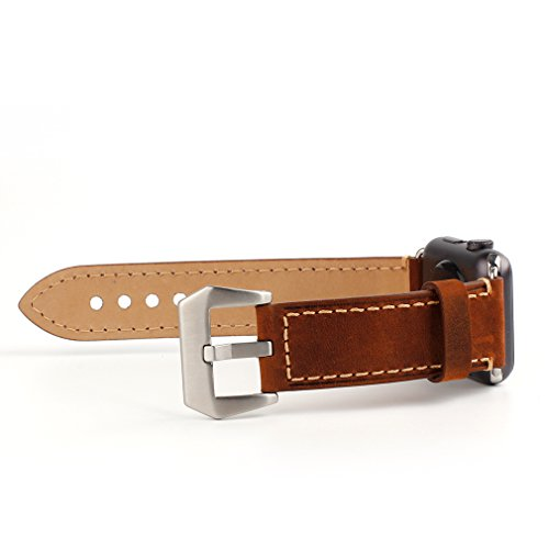 Apple Watch Band, 42mm iWatch Strap Premium Vintage Crazy Horse Genuine Leather Replacement Watchband with Stainless Metal Clasp for All Apple Watch Sport Edition (42mm Brown) 6
