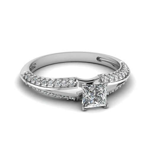 Fascinating Diamonds 1.15 Ct Princess Cut:Ideal Diamond Knife Edge Split Band Engagement Ring 14K Gia