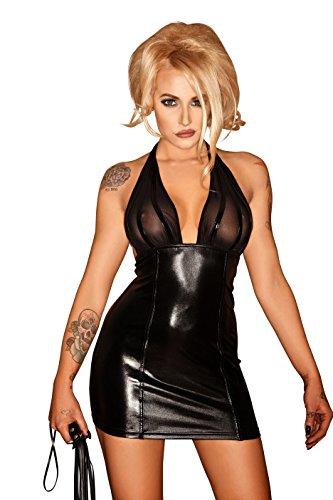 Sexy Neckholder Wetlook Kleid mit transparentem Dekolette