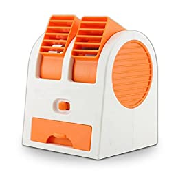 Generic Portable Battery USB Air Conditioner Fan Orange