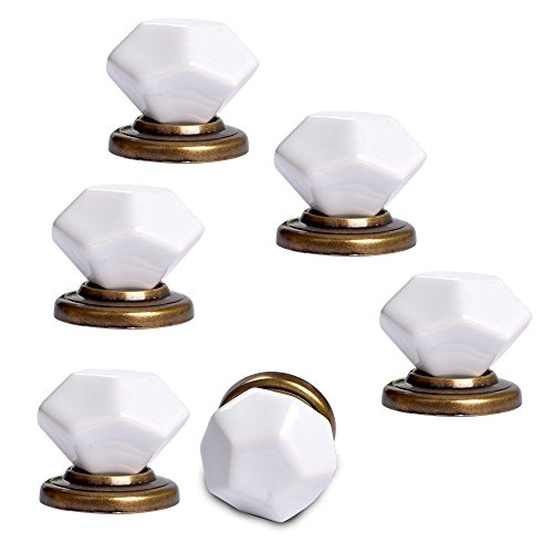 Yazer 6-Pack Modern Fashion 40mm Diamond Shape Ceramic Knobs for Cabinet,Drawer,Cupboard,Dresser (Black And White Knobs compare prices)