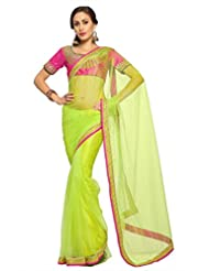 Designersareez Women Net Embroidered Lime Green Saree With Unstitched Blouse(1537)