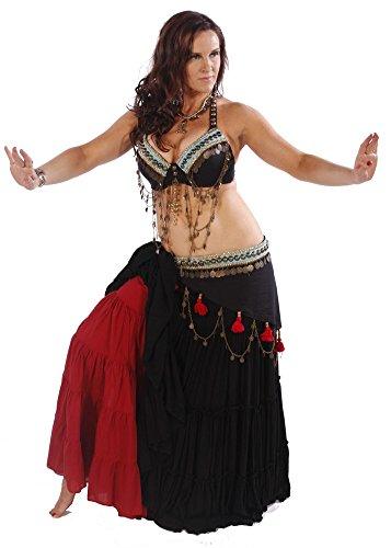 Belly Dance Tribal Pants, Skirt, Bra & Belt Costume Set | Tribal Elegance - D Cup