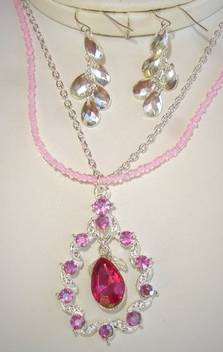 Tear Drop Fuchsia Pink Necklace Earrings Set