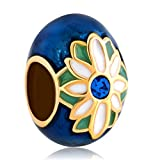 JewelryHouse Faberge Egg Lucky Daisy Bead Charms for Bracelet (Sapphire Blue)