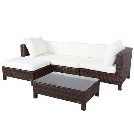 Muebles de ratán poli incl. Heces y la tapicería, de mármol marrón para 4 personas, (n. 3345)