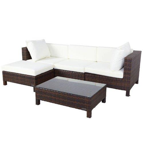 Outflexx 3-Sitzer mit Hocker und Tisch Polyrattan w37, braun