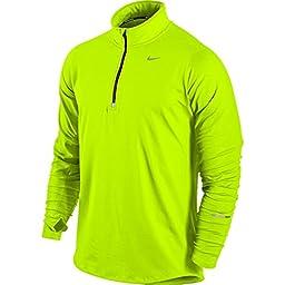 New Nike Men\'s Element Half-Zip LS Shirt Volt/Black/Reflective Silver X-Large