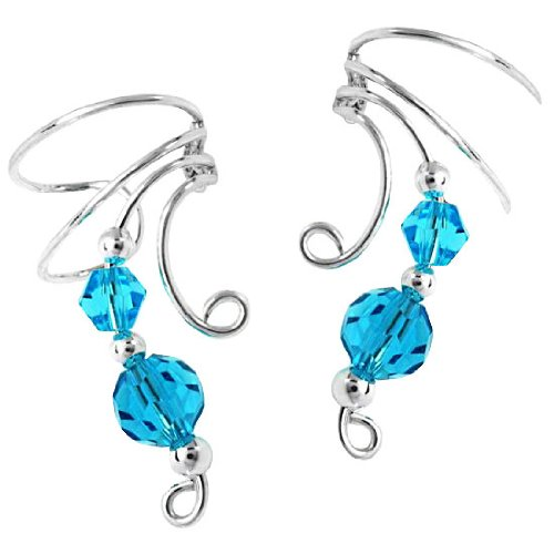 Sterling Silver Two Blue Crystal Beads Wave Ear Cuff Wrap Set