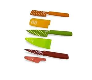 Kuhn Rikon Colori Art Mini Knife, 3-Inch Red Mini Paring/4-Inch Green Chef's/3-Inch Orange Polka Dot Prep, Set of 3