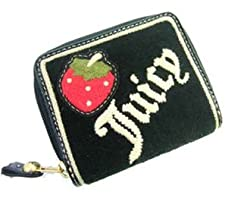 Juicy Couture Terry Strawberry Small Zip Around Wallet Black