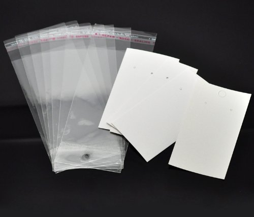 Housweety 100 Sets Ear Hooks Earring Display Cards 9cmx5cm W/ Self Adhesive Bags 15cmx6cm (Display Cards compare prices)