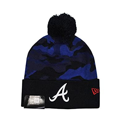 New Era Atlanta Braves Knit Beanie Navy Blue Camo Unisex Hat Mlb