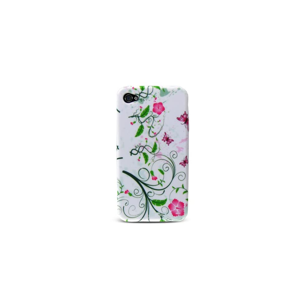 White with Green Flower Design Soft Silicone Skin Gel Cover Case for Apple Iphone 4 4g