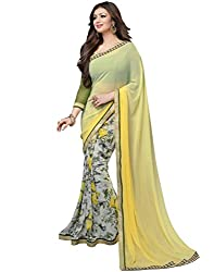 Fab Desire Yellow, Georgette, Floral Print Saree
