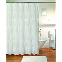 Gypsy Ruffled Shower Curtain White