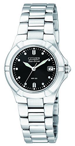 Citizen Watch Riva Women's Quartz Watch with Black Dial Analogue Display and Silver Stainless Steel Bracelet EW1530-58E
