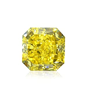 2.62 Carat Fancy Vivid Yellow Loose Diamond Natural Color Radiant Shape GIA