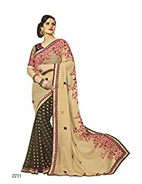 Aarti Latest Fashionable Party Wear Fancy Saree Bridal Embroidery Saree Wedding Wear Free Size - B00XA0889W